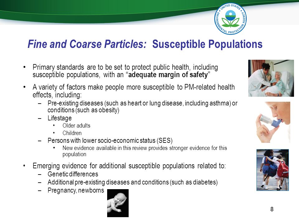 Fine and Coarse Particles: Susceptible Populations