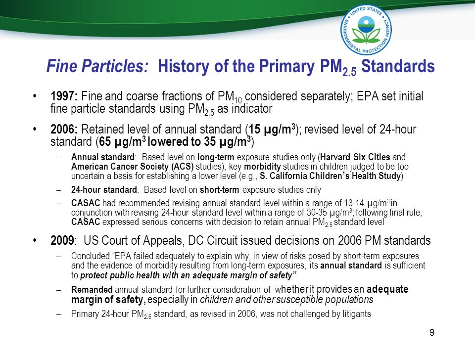 Fine Particles: History of the Primary PM2.5 Standards