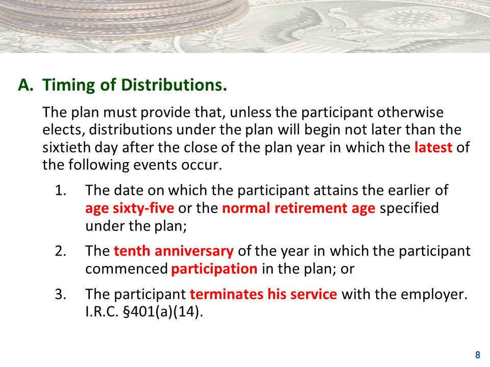 A. Timing of Distributions.