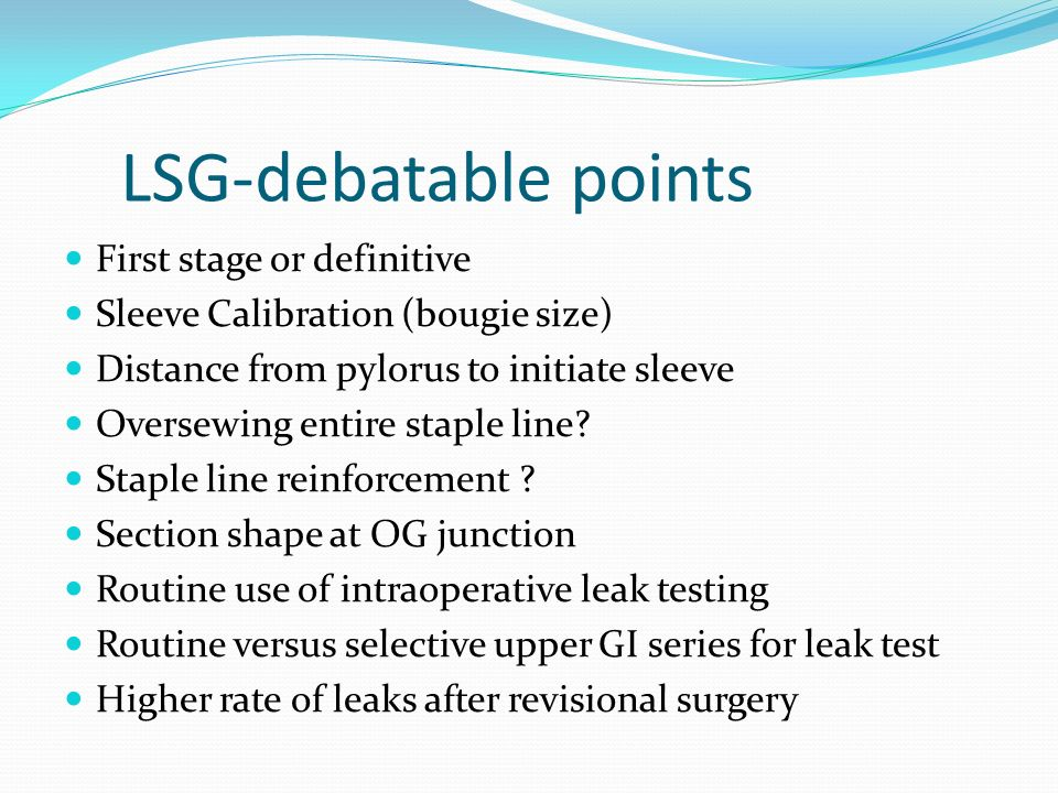 LSG-debatable points First stage or definitive