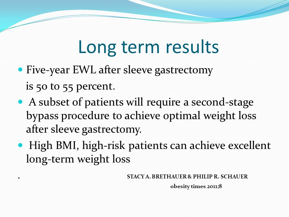 Long term results Five-year EWL after sleeve gastrectomy