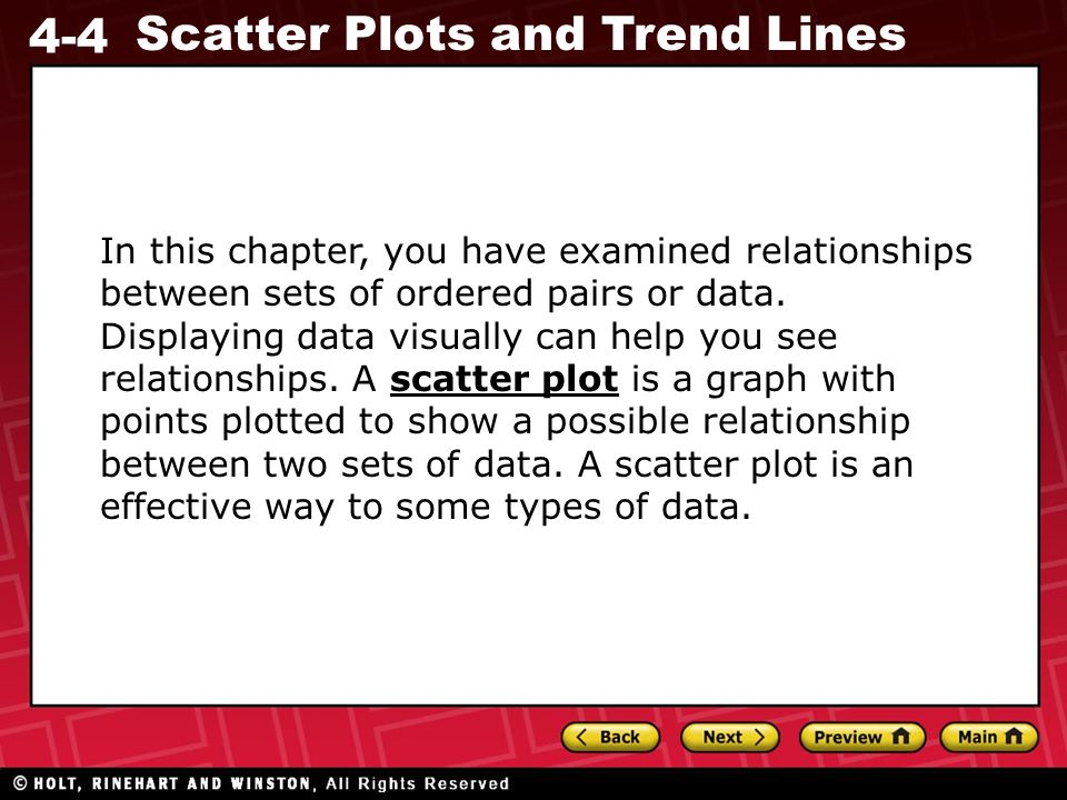In this chapter, you have examined relationships between sets of ordered pairs or data.