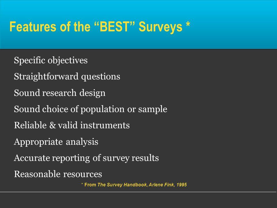 Features of the BEST Surveys *