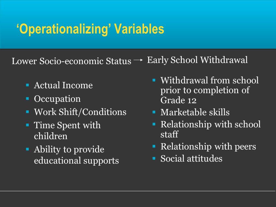 'Operationalizing' Variables