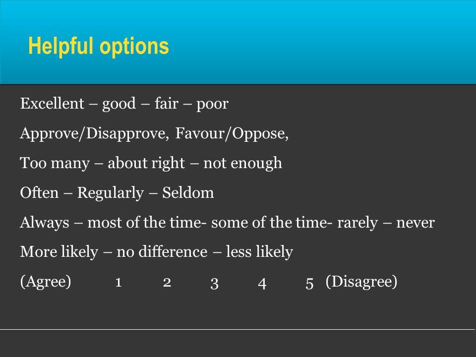 Helpful options Excellent – good – fair – poor