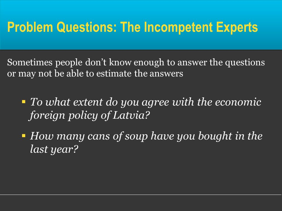 Problem Questions: The Incompetent Experts