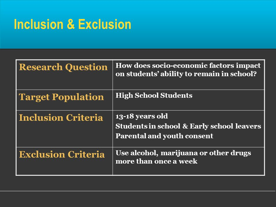 Inclusion & Exclusion Research Question Target Population