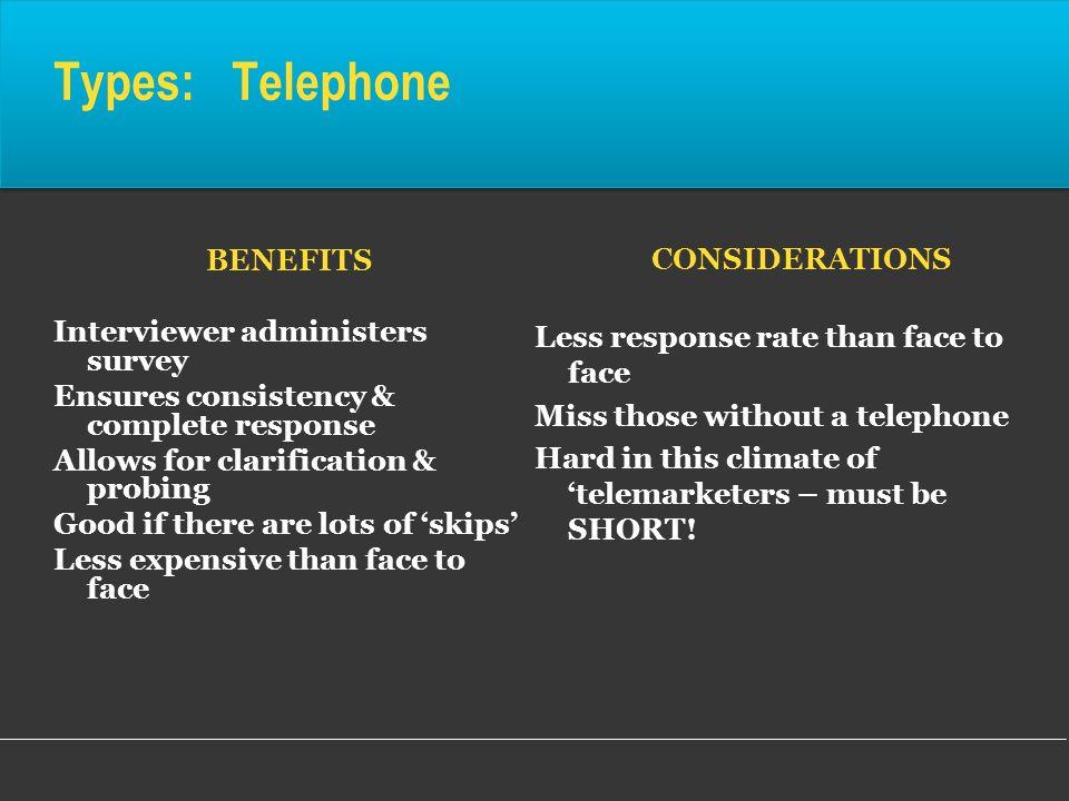 Types: Telephone CONSIDERATIONS BENEFITS