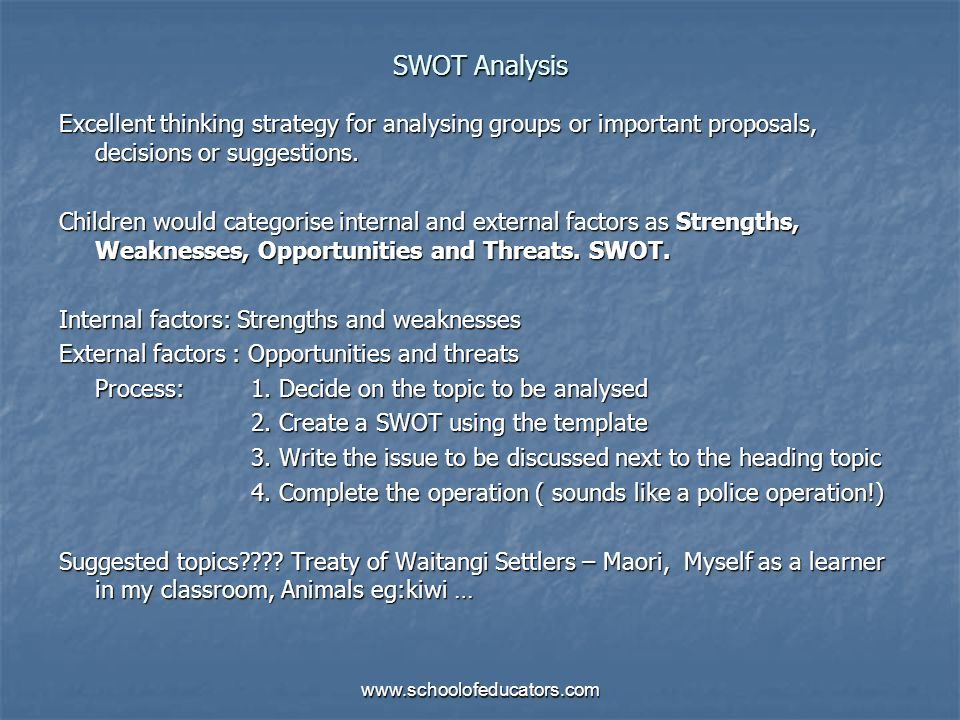 SWOT AnalysisExcellent thinking strategy for analysing groups or important proposals, decisions or suggestions.