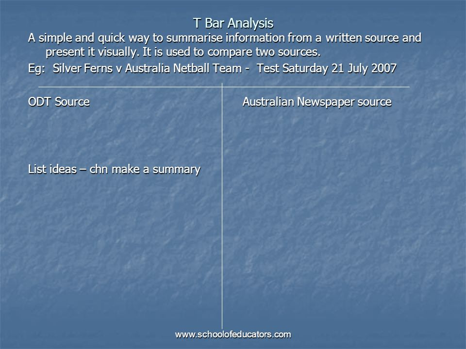 T Bar AnalysisA simple and quick way to summarise information from a written source and present it visually. It is used to compare two sources.