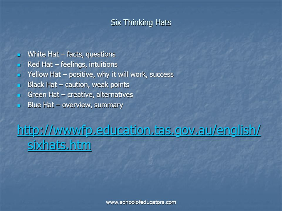 Six Thinking HatsWhite Hat – facts, questions. Red Hat – feelings, intuitions. Yellow Hat – positive, why it will work, success.
