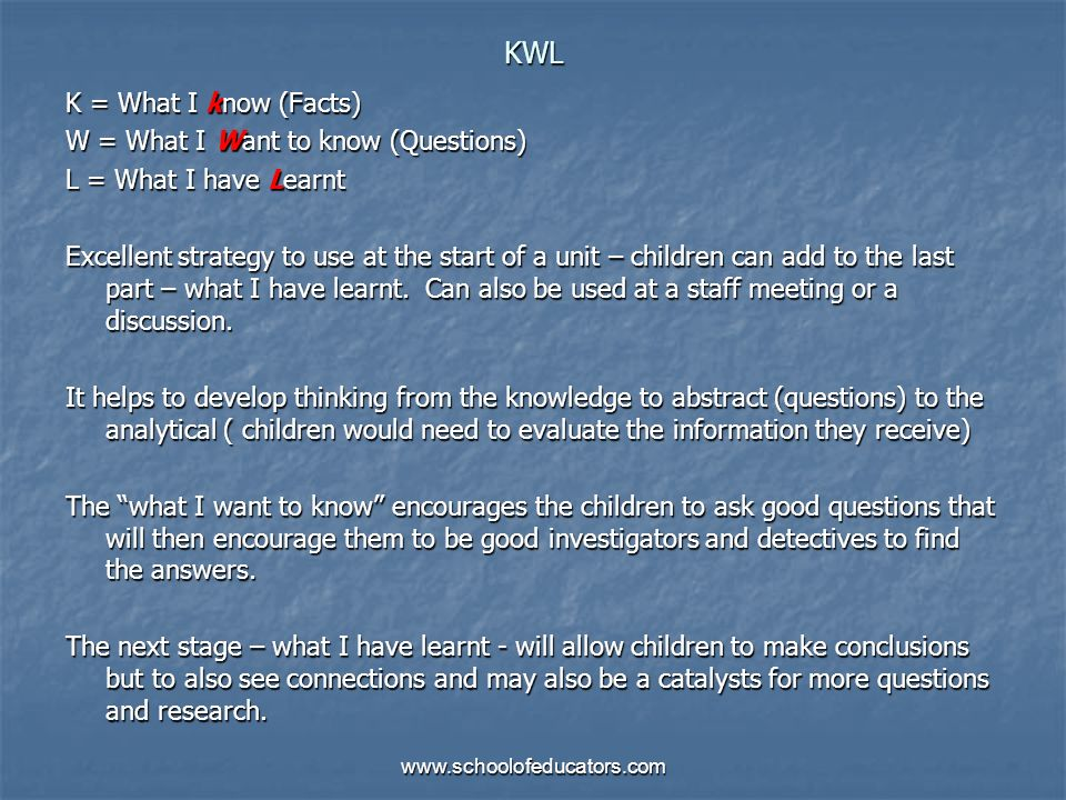 KWL K = What I know (Facts) W = What I Want to know (Questions)