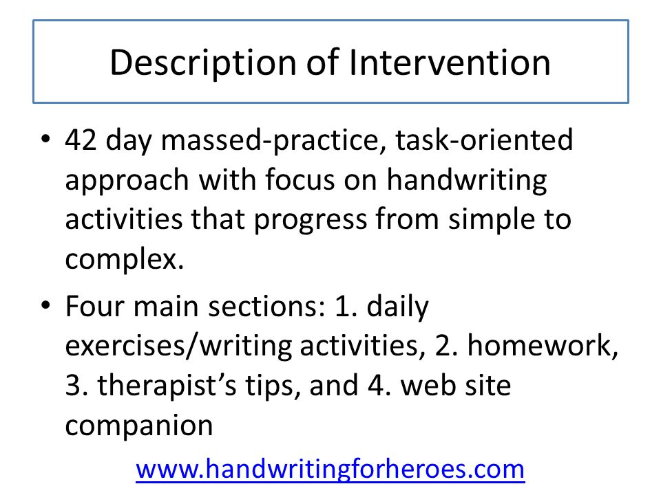 Description of Intervention