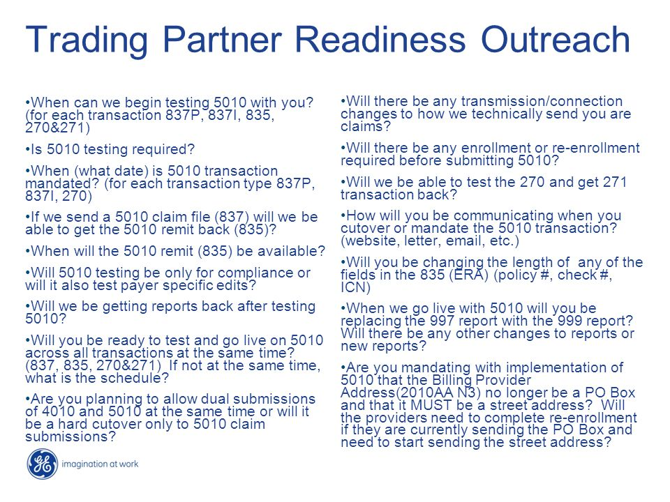 Trading Partner Readiness Outreach