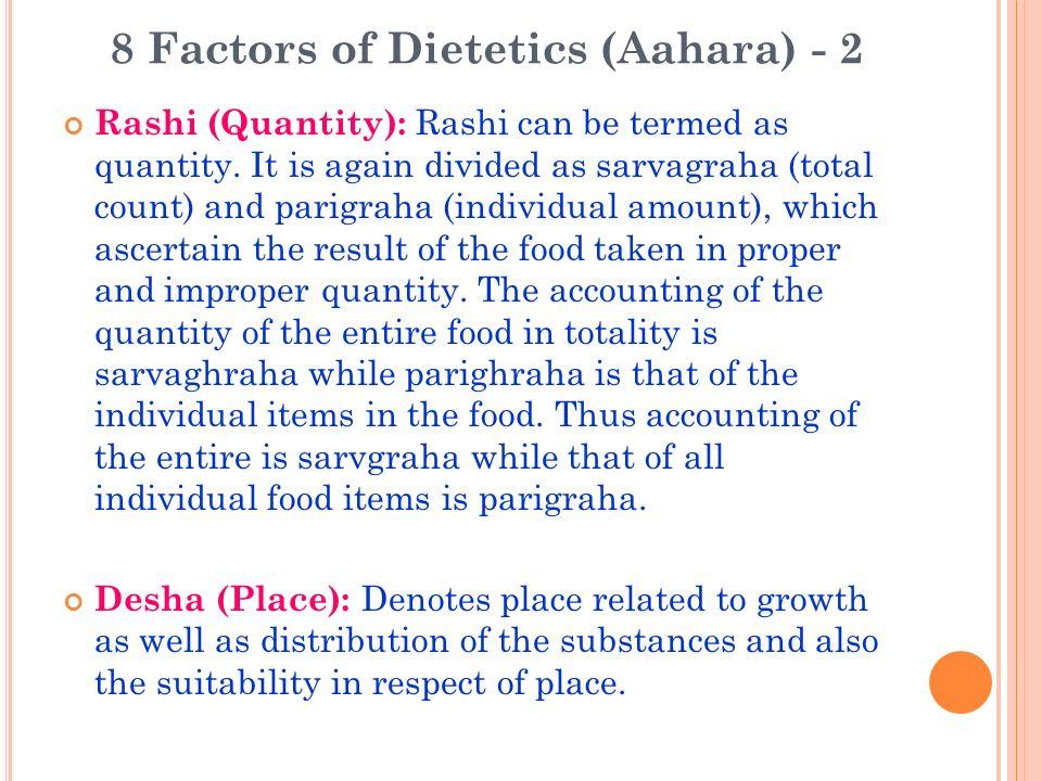 8 Factors of Dietetics (Aahara) - 2