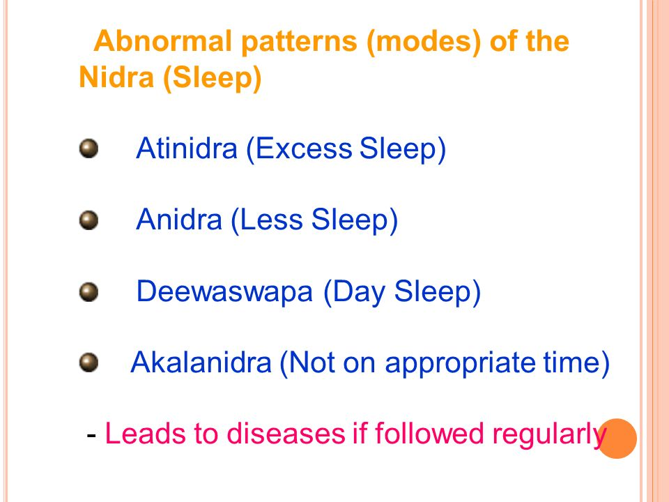 Abnormal patterns (modes) of the Nidra (Sleep)
