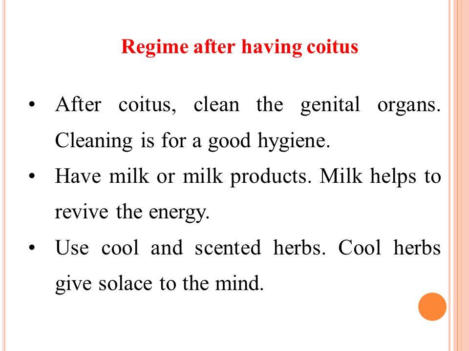 Regime after having coitus