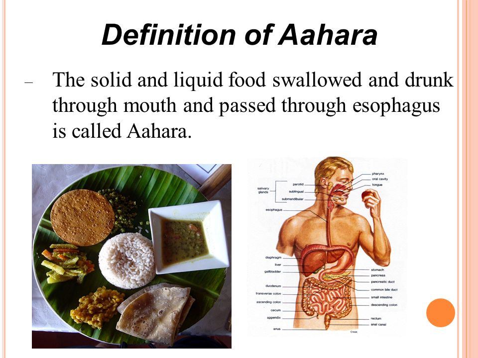Definition of Aahara – The solid and liquid food swallowed and drunk through mouth and passed through esophagus is called Aahara.