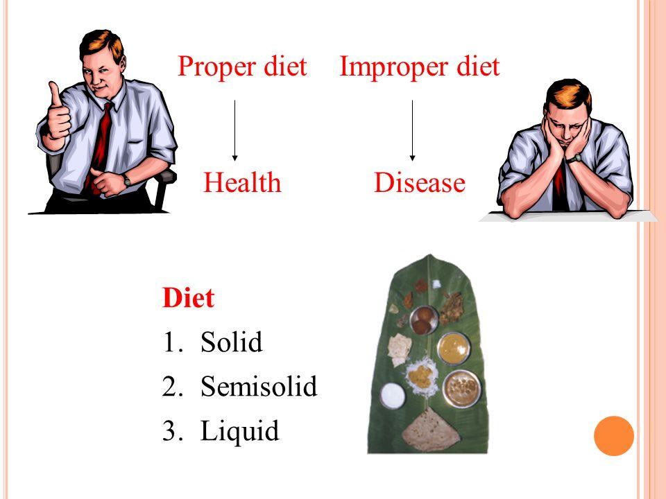 Proper diet Improper diet Health Disease Diet 1. Solid 2. Semisolid
