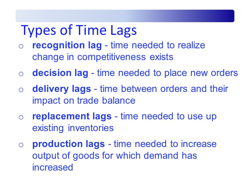 Types of Time Lags recognition lag - time needed to realize change in competitiveness exists. decision lag - time needed to place new orders.