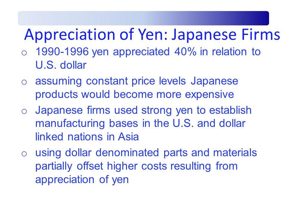 Appreciation of Yen: Japanese Firms