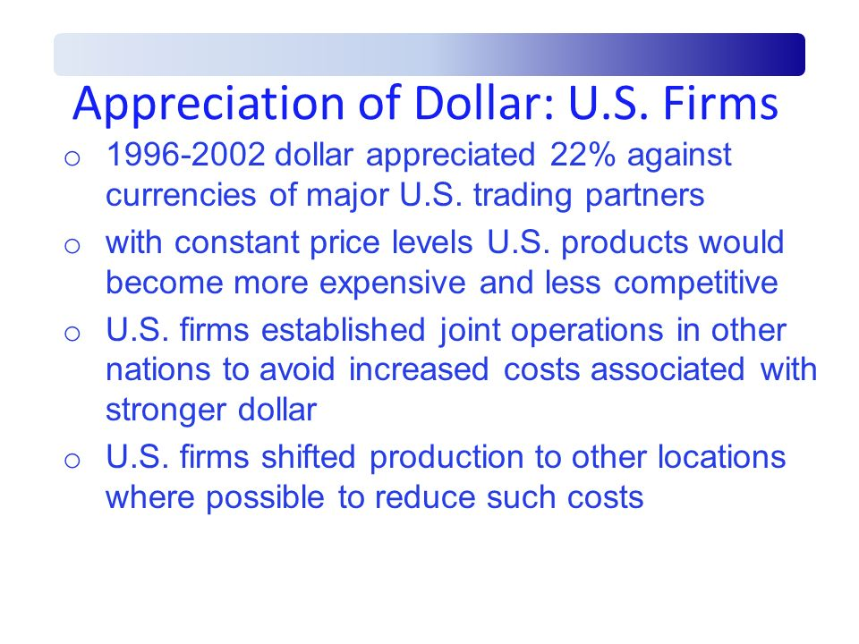 Appreciation of Dollar: U.S. Firms
