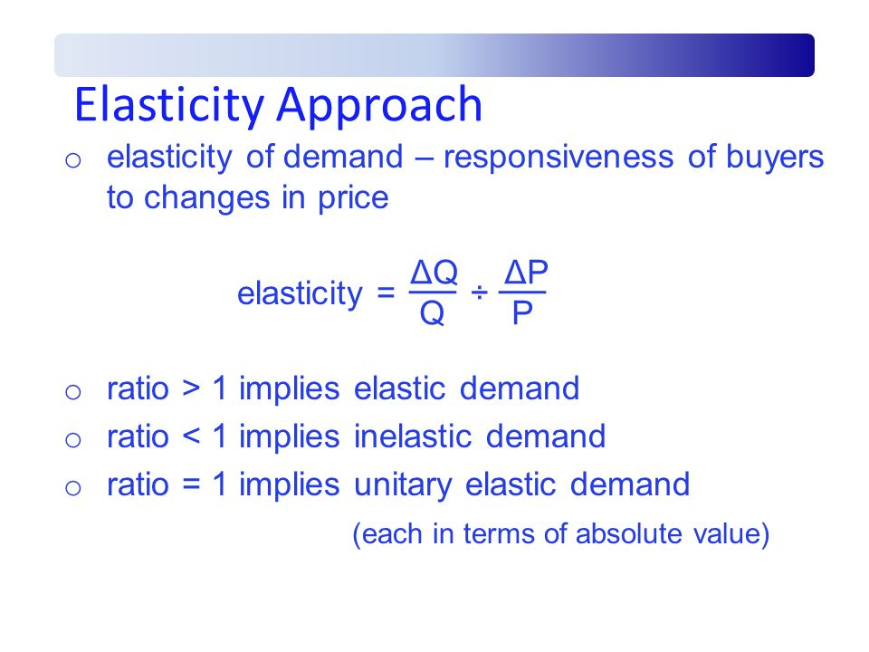Elasticity Approach elasticity of demand – responsiveness of buyers to changes in price. elasticity = ÷