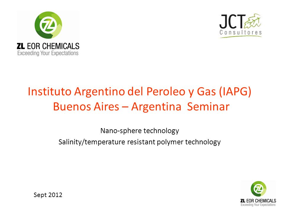 Instituto Argentino del Peroleo y Gas (IAPG) Buenos Aires – Argentina Seminar