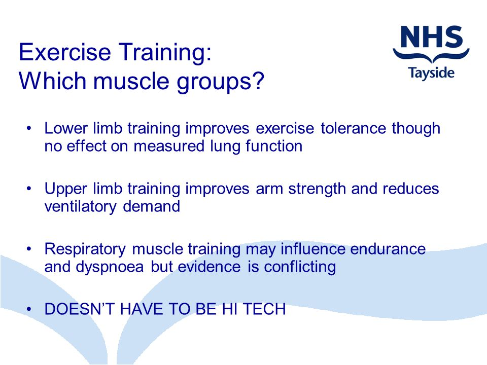 Exercise Training: Which muscle groups