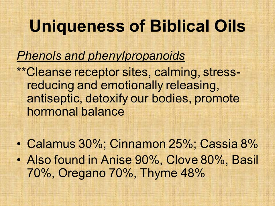 Uniqueness of Biblical Oils