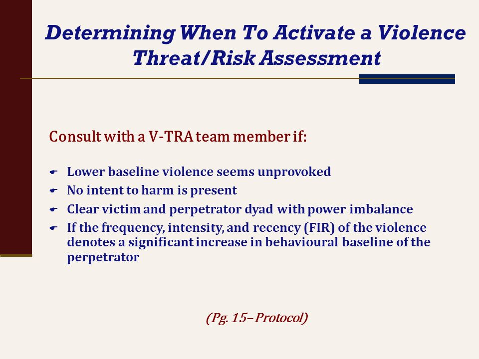 Determining When To Activate a Violence Threat/Risk Assessment