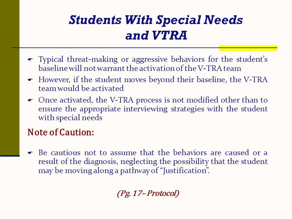 Students With Special Needs and VTRA
