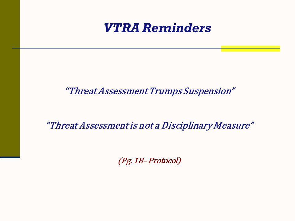 VTRA Reminders Threat Assessment Trumps Suspension