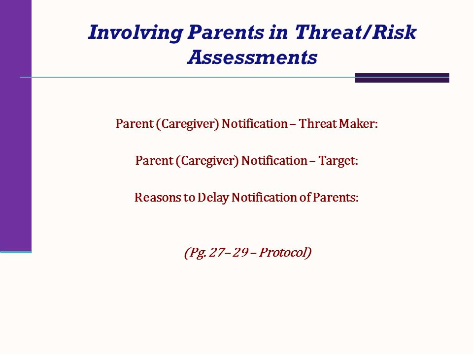 Involving Parents in Threat/Risk Assessments