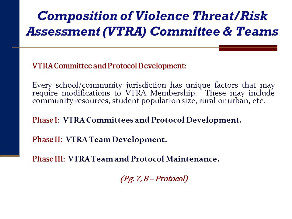 Composition of Violence Threat/Risk Assessment (VTRA) Committee & Teams