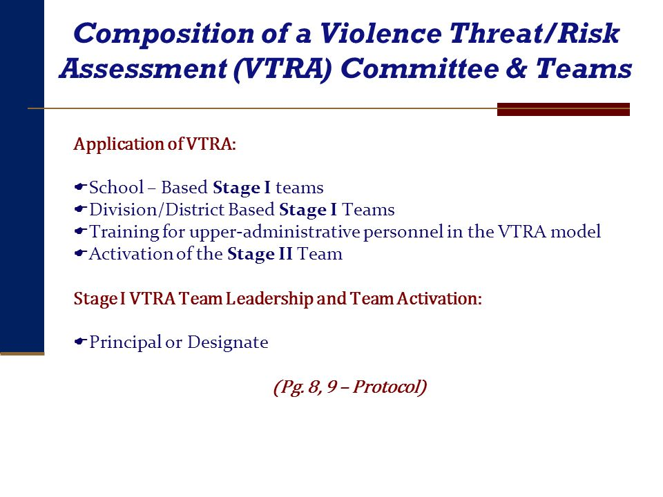 Composition of a Violence Threat/Risk Assessment (VTRA) Committee & Teams