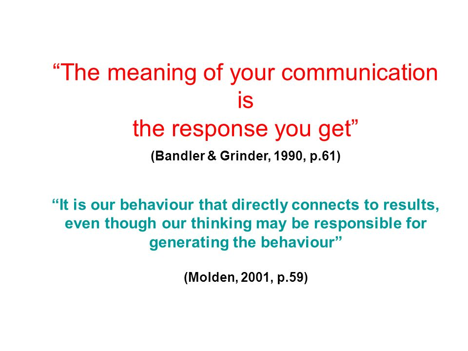 The meaning of your communication