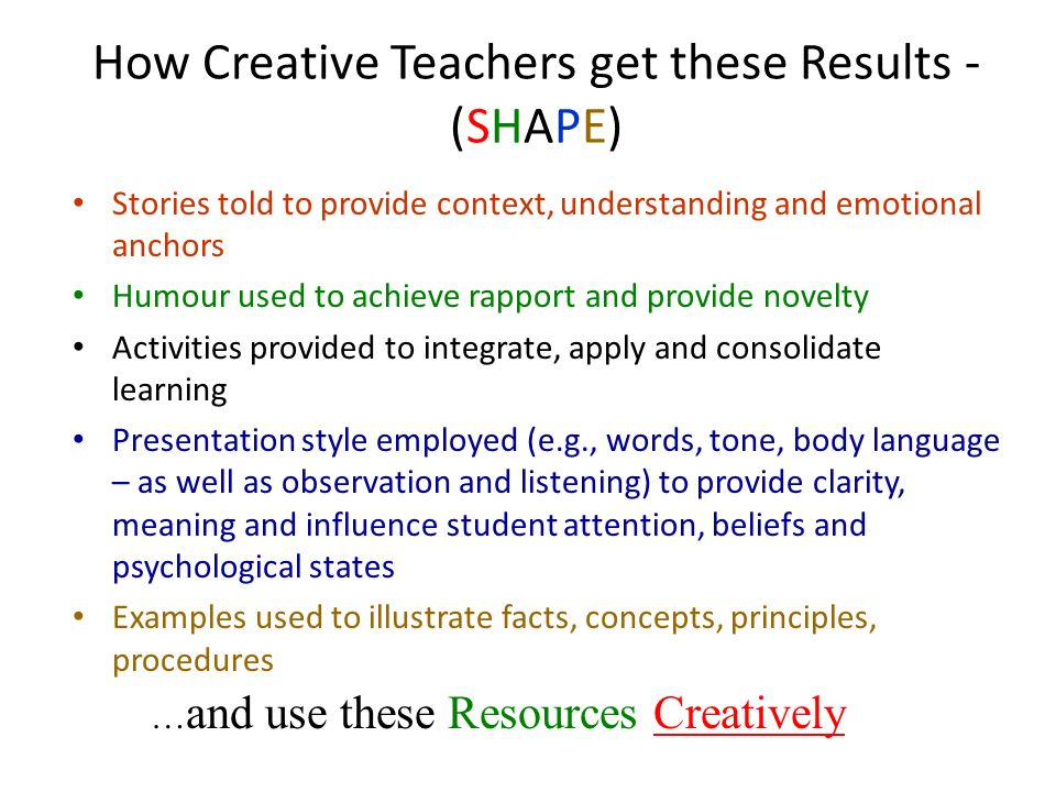 How Creative Teachers get these Results - (SHAPE)