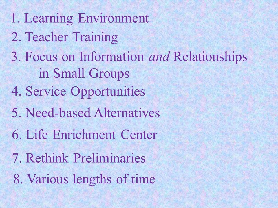1. Learning Environment 2. Teacher Training. 3. Focus on Information and Relationships in Small Groups.