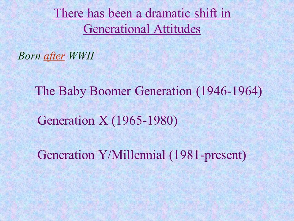 There has been a dramatic shift in Generational Attitudes