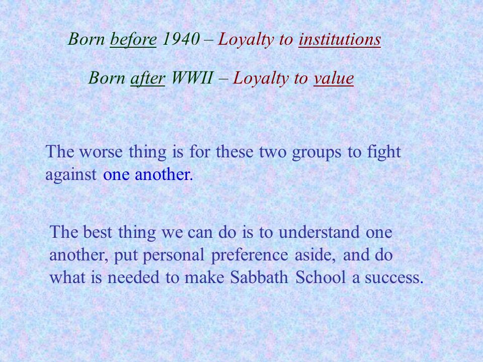 Born before 1940 – Loyalty to institutions