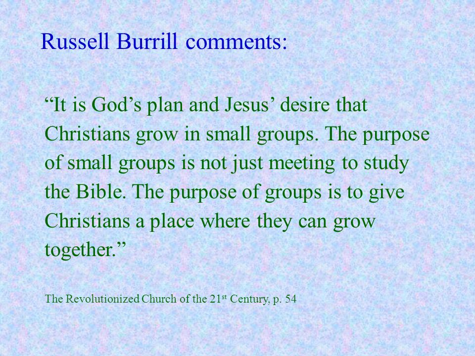 Russell Burrill comments: