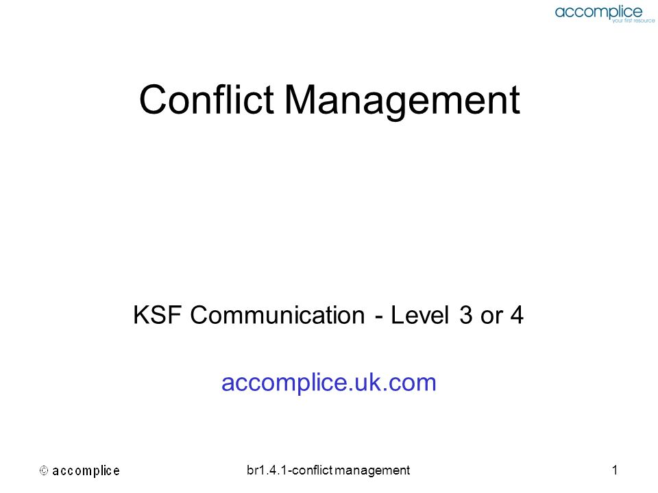 KSF Communication - Level 3 or 4 accomplice.uk.com