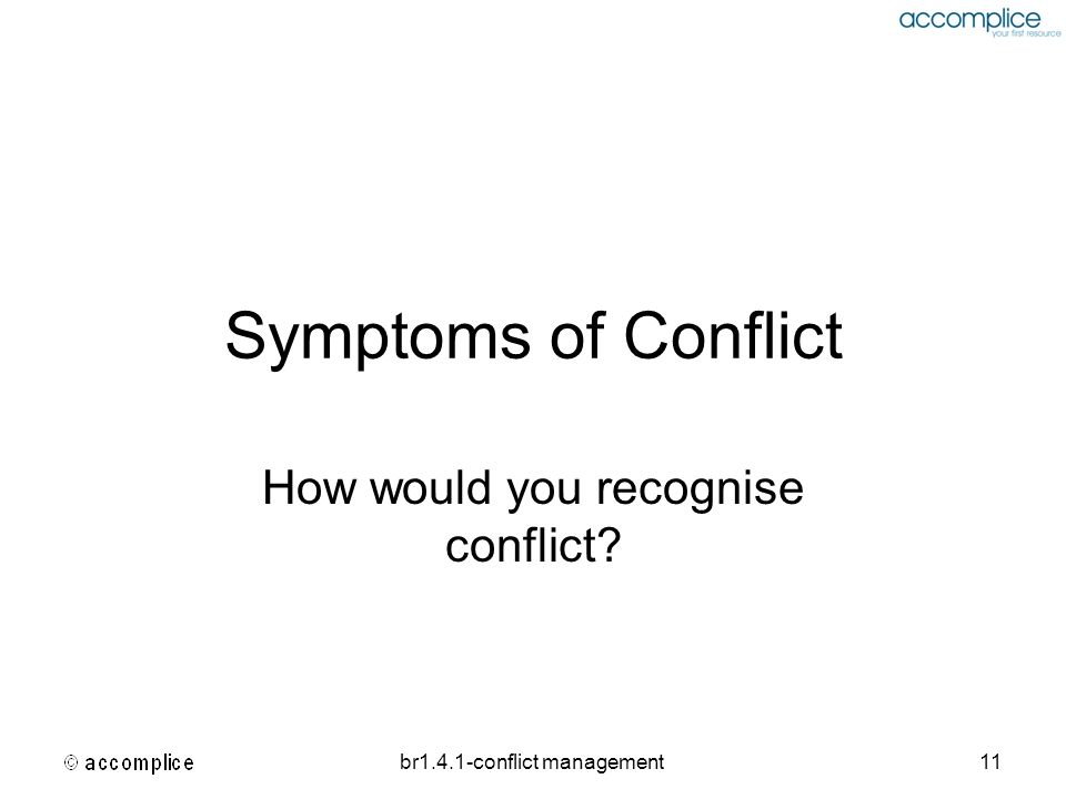 How would you recognise conflict