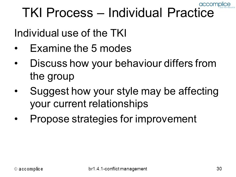 TKI Process – Individual Practice