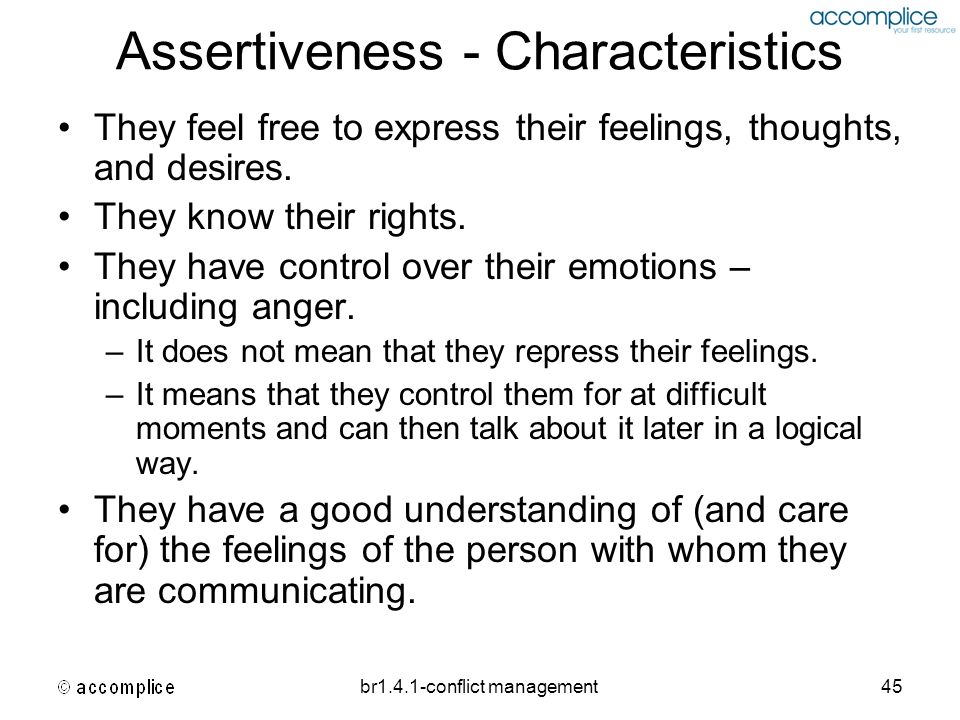 Assertiveness - Characteristics