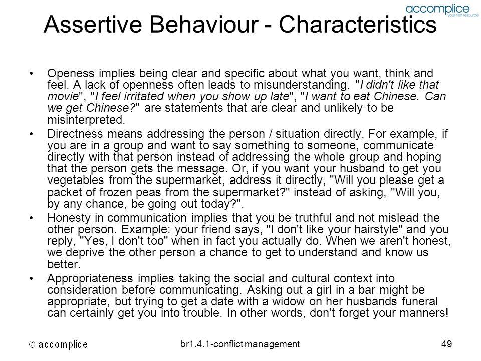 Assertive Behaviour - Characteristics