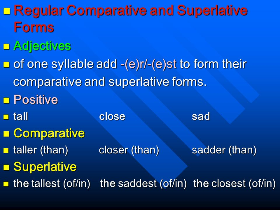 Regular Comparative and Superlative Forms