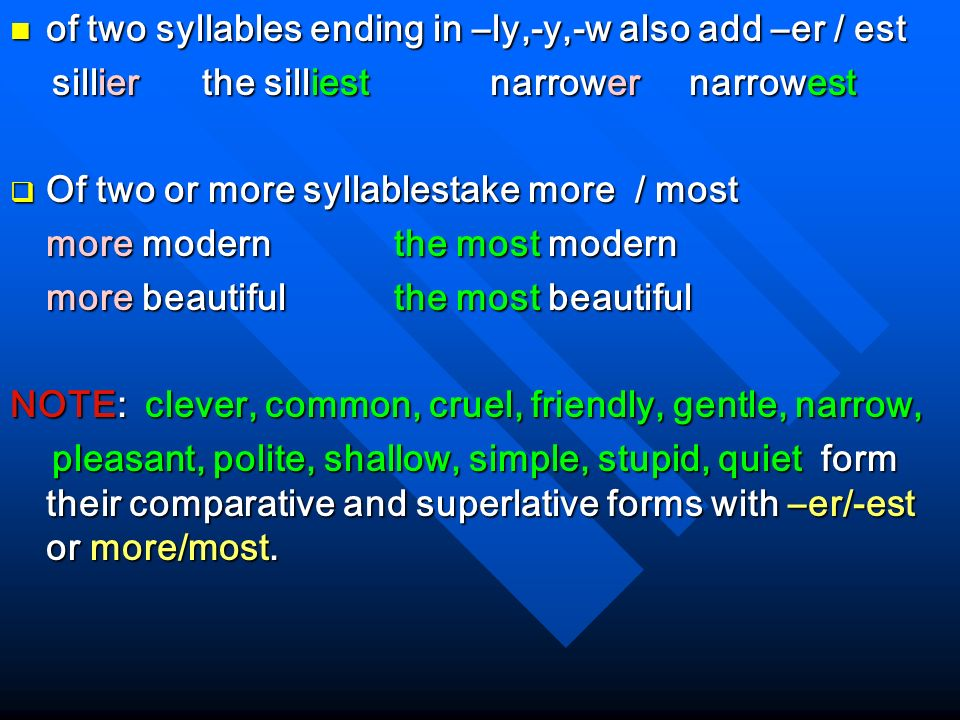 si of two syllables ending in –ly,-y,-w also add –er / est
