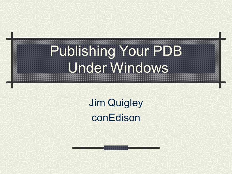 Publishing Your PDB Under Windows